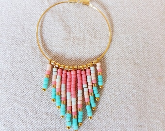 Long necklace with Pendant in shades of pink, turquoise and gold miyuki beads