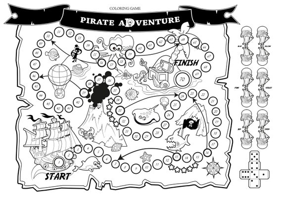 Coloring board Game: Pirate Adventure. Printable fun story. DIY. Children  activity, Kids gift. Pirate map, ship, treasure, sea creatures