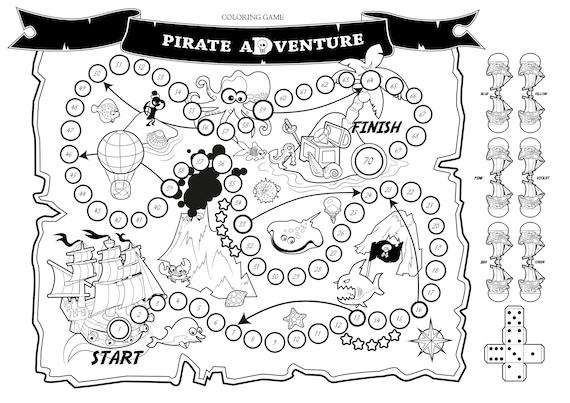 Kleurplaten Kleuren Spelletjes.Kleuren Spel Pirate Adventure Bordspel Kaart Van De Etsy