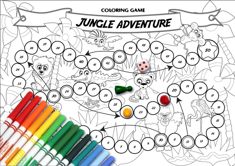 photograph regarding Board Game Printable named Coloring Recreation: Jungle Experience Board Activity Printable recreation, Coloring Webpage, Do-it-yourself, Small children sport, Small children present, endure, tiger, panda, adorable, zoo