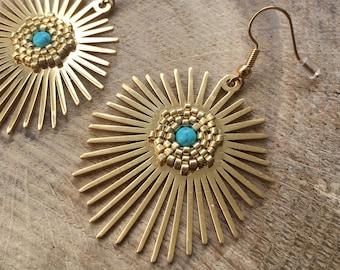 Sun earrings - turquoise stone and Miyuki pearls