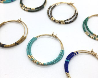 30mm creoles in stainless steel colors of your choice, Miyuki beads