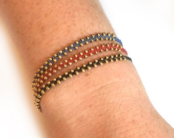 chevrons friendship bracelet - many colors to choose from - gold or silver push bead clasp