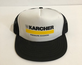 91d3a0a2fd4 Vintage black and white Karcher Pressure Washers trucker hat by Athletic  Headwear