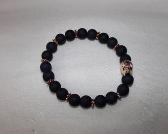 Navy and Rose Gold Beaded Bracelet