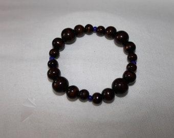 Wood and Blue Bead Beaded Bracelet