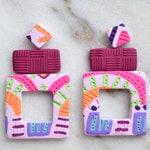 FUNETS - Biennale Bay / Tassel Earrings / Polymer Clay / Stud / Dangles / Statement Earrings / Geometric Earrings/ Gifts for Her