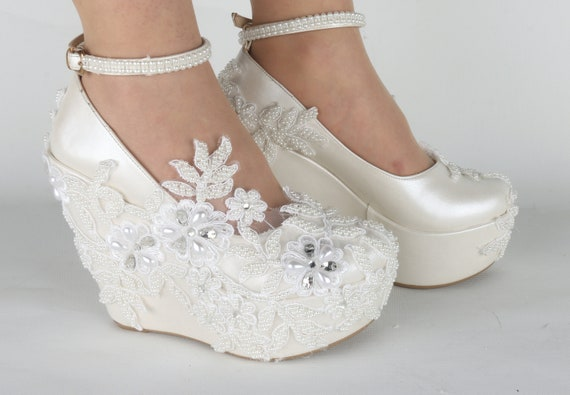 e188d1beba2 Wedding Shoes Ivory  White Embellished Lace Bridal Shoes with