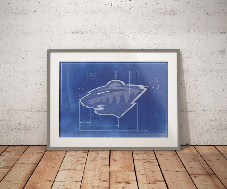 detailed look d85d1 6f983 Minnesota Wild Vintage Logo Schematic Art Print 5x7 8x10 poster with Free  shipping. NHL Hockey Sports Memorabilia and gifts for men.