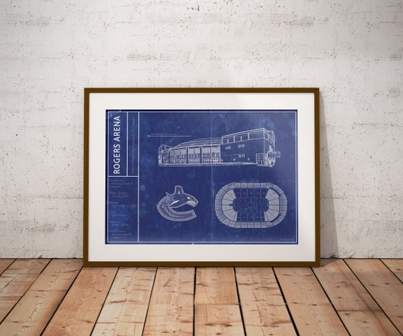 super popular b7675 e50e8 Vancouver Canucks Rogers Arena blueprint art print. 5x7 to 24x36 with free  shipping. NHL hockey sports memorabilia and gifts for men.