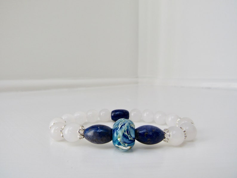 BLUE LAPIS Lazuli and White JADE Lampwork Easy Luxe Sterling Silver Stretch Stacking Bracelet