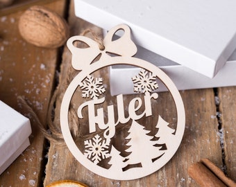 Personalised Name Only Christmas Snowflakes Crafts mdf undecorated