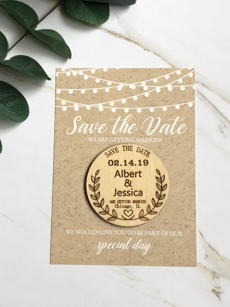 Wood Save The Date Magnet with Cards Save The Date Magnets Personalized Save The Date Wedding Cards Save the Date magnet Rustic Wedding