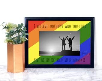 Custom Love Photo Mat, LGBT Pride, Pride, Engagement gift, Gay Wedding gift, Luke Bryan, Gay, Lesbian, Love, Present, Gift, Frame