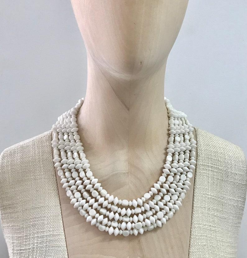 Vintage 1950/'s  Multi Strand White Plastic Bead Collar Necklace