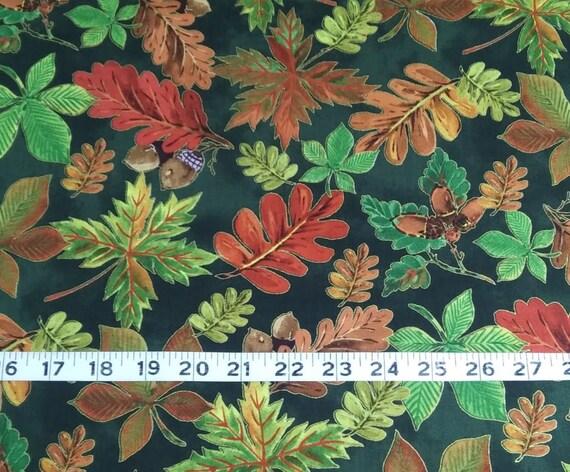 Autumn Leaf Leaves Berries Beige Cotton Fabric Wilmington Thankful Harvest Yard