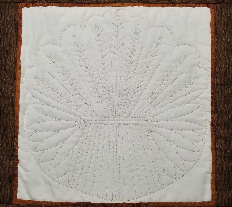 Wheat Design Hand Quilted Wall Hanging 21 12 x 21 12 Free Shipping
