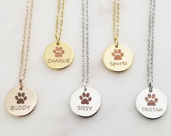 0b3b4a2e904d Paw Print Necklace • Pet Memorial Jewelry • Cat or Dog Paw Print • Pet Loss  • Engraved Paw Print • Remember Your Pet