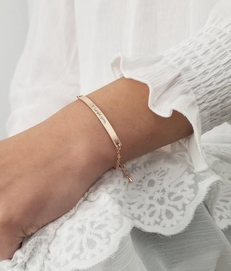 Personalized Bracelet for Women Gold Bar Bracelet Monogram Initial Bracelet Friendship Custom Bracelet Personalized Name Bracelet