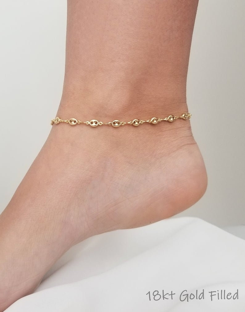 Anklet With Chain Gold Anklet Anklets For Women 18k Gold Anklet Gold Ankle Bracelet Dainty Gold Anklet Gold Anklet Bracelet