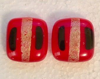 Opaque Red with Black and Dichroic Stripes Fused Glass Earrings (1 pair)