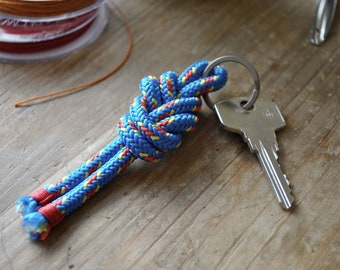 Blue Figure Eight Knot Keychain   Titanium Split Ring   Nautical Keychain