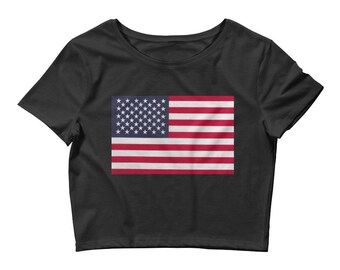 American Flag Patriotic Woman's Crop Top