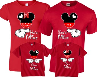 She s Mine He s Mine They re Mine Mickey and Minnie Family Vacation  Valentine s Custom family Christmas Shirts 969f9f5f8