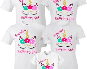 Birthday Girl Custom Family Unicorn MOM DAD And Shirts