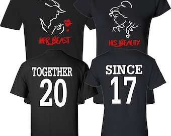 80ebef29eb Her Beast His Beauty Together Since Couples Matching Valentine's Christmas Custom  Shirts