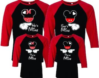 3b05324f005 She s Mine He s Mine They re Mine Mickey and Minnie 3 4-Sleeve Baseball  T-Shirt