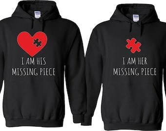 c961b7c821 Im her IM hIS mISSING Piece Funny Cute Couples Matching Valentine's  Christmas Custom Hoodies