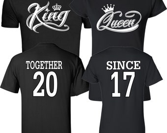 9bebbcbc7c King and Queen White Designs Together Since Couples Matching Valentine's  Christmas Custom Shirts