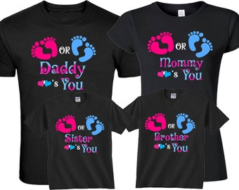 a39fb9a68 Pink Blue Gender Reveal Pregnant Expected Baby Family Funny Matching Cute T- Shirts