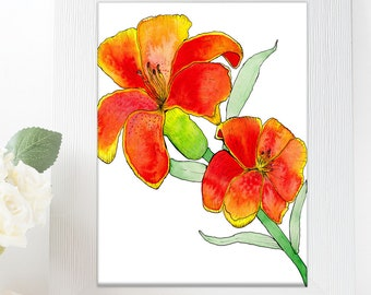 Watercolor Botanical Lily Lilies Flower Downloadable Print, Baby Girl Floral Nursery Room, Flowers Shabby Chic Decor, Orange and Red Lilies