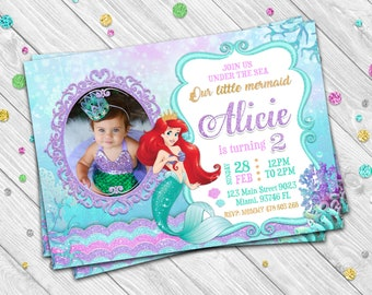 THE LITTLE MERMAID Invitation The Little Mermaid Birthday Disney Princess 5X7 In Or 4X6 Supplies Invite 114
