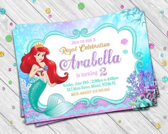 THE LITTLE MERMAID Invitation The Little Mermaid Birthday Disney Princess 5X7 In Or 4X6 Supplies Invite 033k