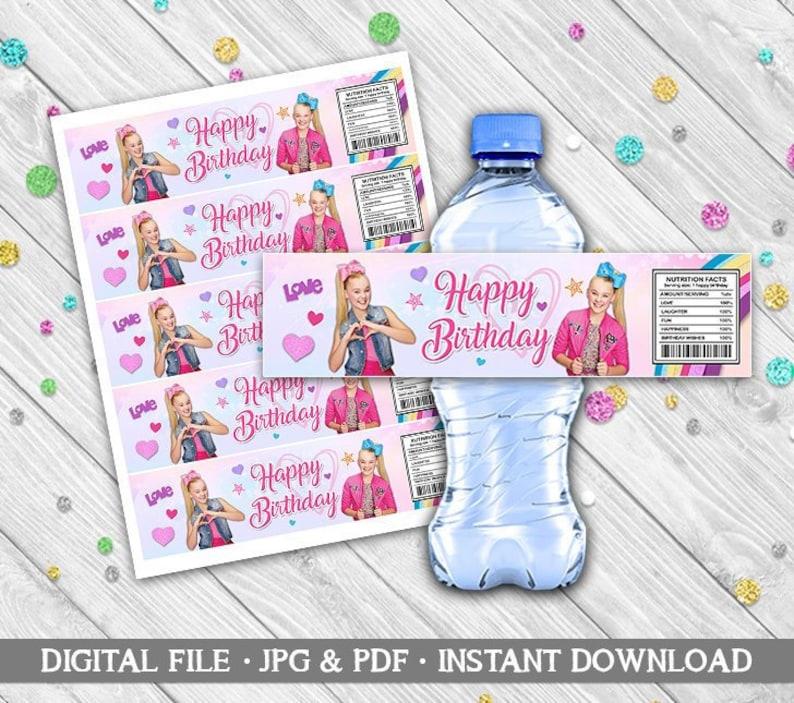 cd57513338 JOJO SIWA Water Bottle Labels Printables JoJo Siwa Digital   Etsy