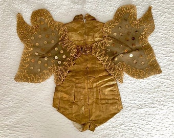1950's Vintage Child's Gold Leme Costume With Wings
