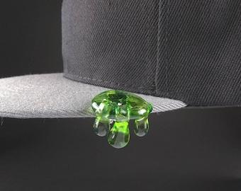 oil drip design Glass hat pins