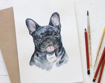 Custom pet portrait, Dog Portrait, Original watercolor painting dog, hand made gift