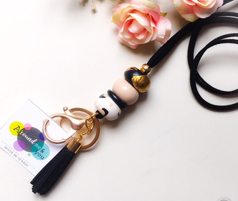 Black Gold Tassel Teacher lanyard Necklace lanyard with ID holder Badge  holder Key lanyard Clay accessory Gold Keychain lanyard Gift for her