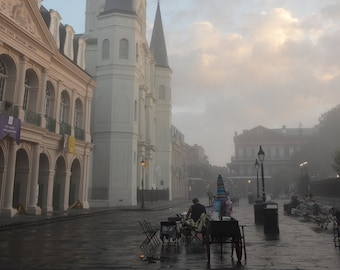 Foggy New Orleans St. Louis Cathedral Canvas 11x14