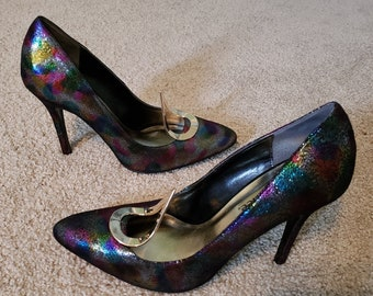 1bc3a4aac7b7 Vintage J Renee iridescent shimmer rainbow funky pumps shoes 8.5