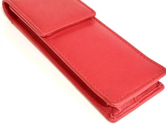 Red Leather Single Magnetic Flap Pen Case//Pouch Real Leather Hand Made