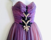 Ethereal Faery Princess Lavender Beaded Chiffon Taffeta 50 39 s Vintage Debutante Prom Dress Size AU 6 - 8 US 4 - 6 Halloween Costume