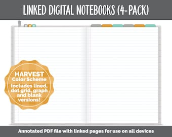 Linked Digital Notebooks 4- Pack | Harvest Theme | GoodNotes, iPad & Android