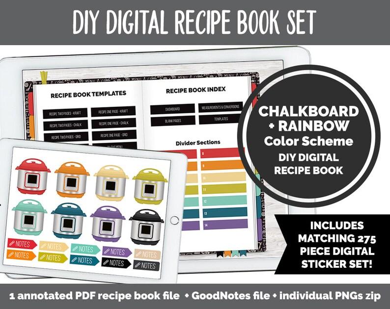 DIY Digital Recipe Book  Sticker Set  Goodnotes iPad & image 0