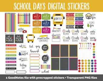 School Days Digital Planner Stickers | GoodNotes, iPad and Android | Back to School