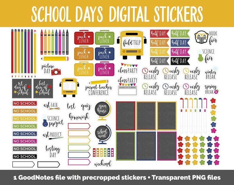 School Days Digital Planner Stickers  GoodNotes iPad and image 0